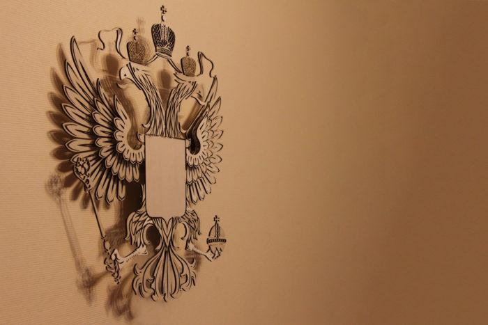 Герб России из фанеры вид слева