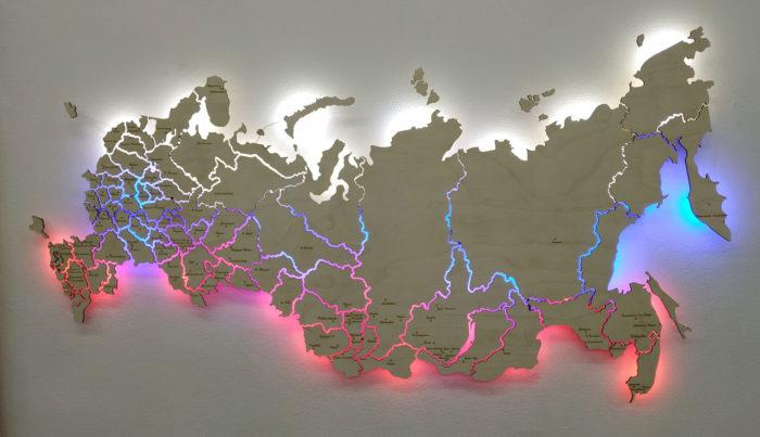 Карта России из фанеры с гравировкой