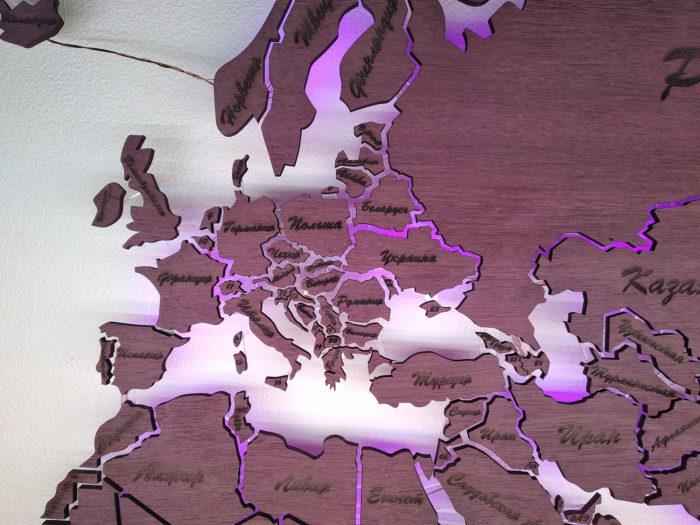 Карта мира из дерева Европа