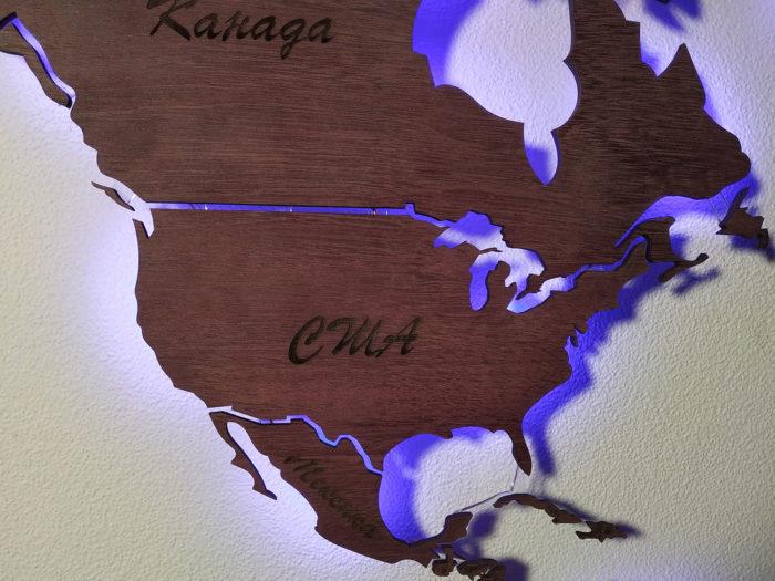 Карта мира из дерева Северная Америка