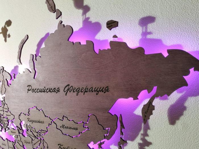 Карта мира из дерева Россия