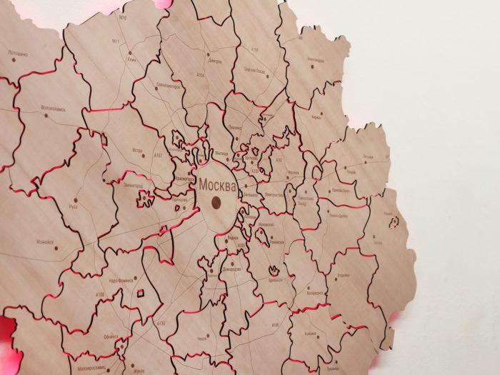 Карта Московской области со светодиодной подсветкой