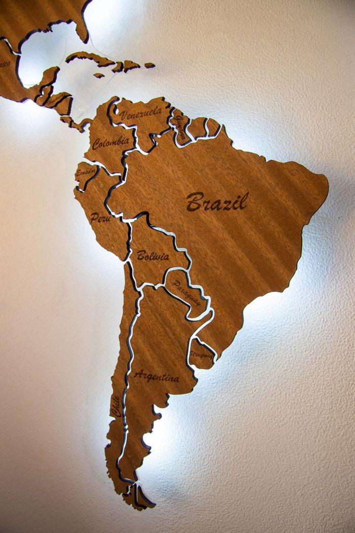 Южная Америка из дерева