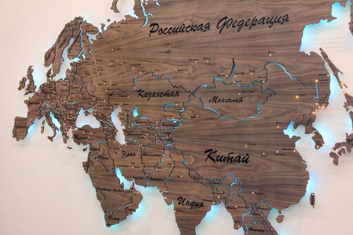 Карта Евразии из Американского Ореха
