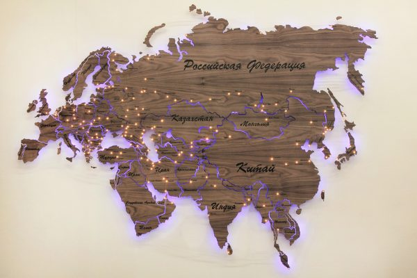 Карта Евразии из дерева