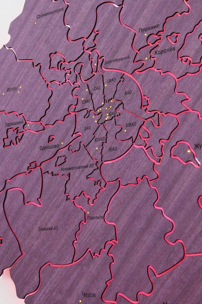 Деревянная карта МО из амаранта