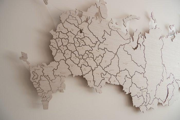 Карта России из дерева Европейская часть дуб 15 SM