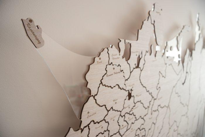 Карта России из дерева Калининград
