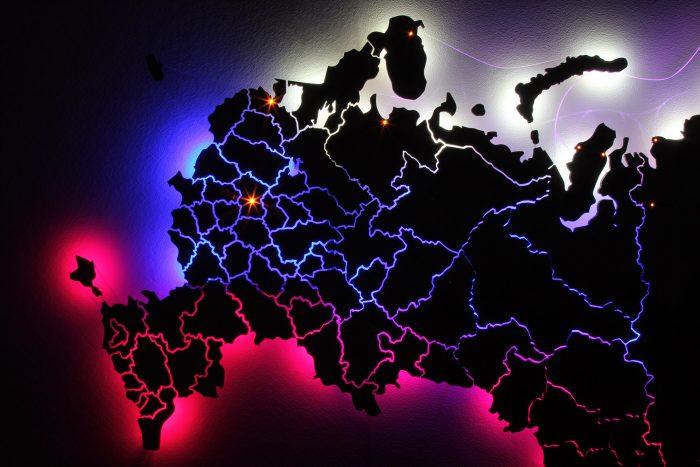 Европейская часть карты России в темноте