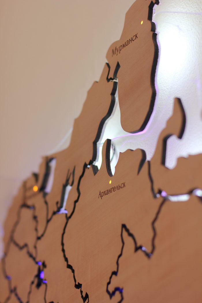 Деревянная карта России Мурманск