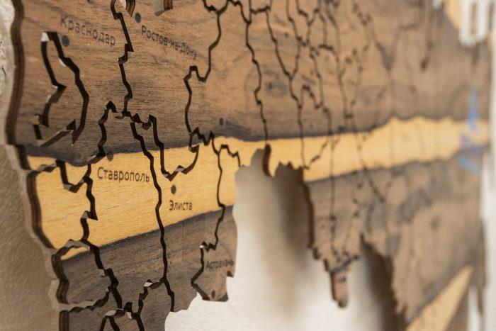 Карта России из дерева Ставрополь