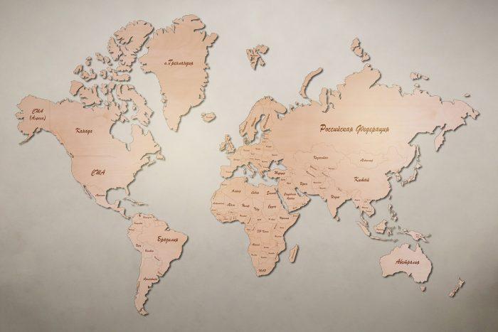 Рендер карты мира из березы
