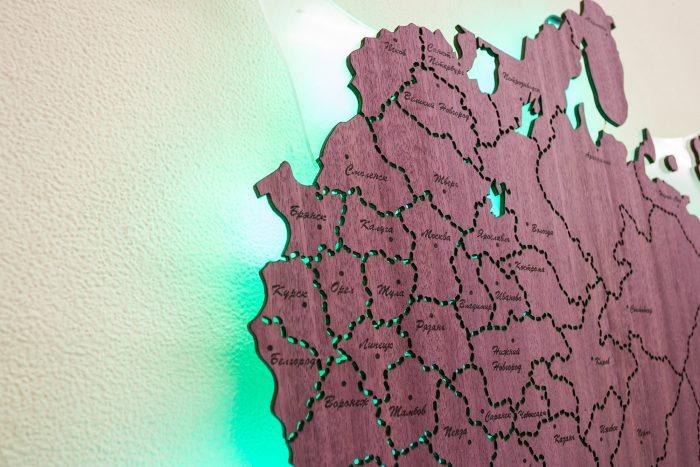 Центральная часть карты России с подсветкой