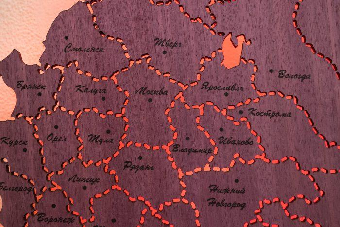 Деревянная карта России Москва