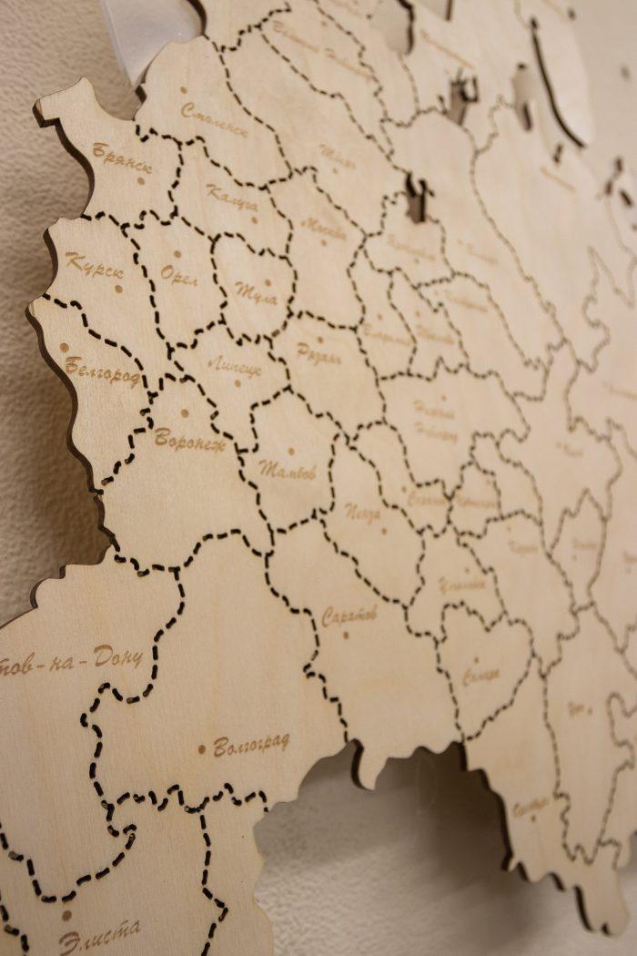 Деревянная карта России из фанеры