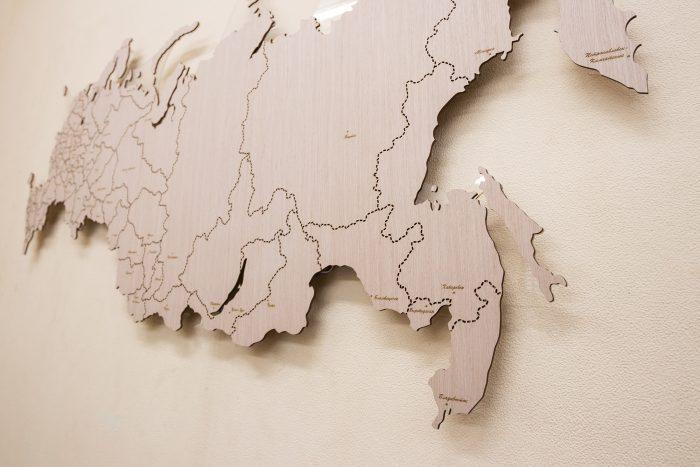 Деревянная карта России Владивосток
