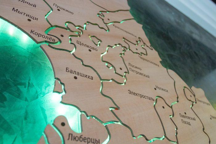 Деревянная карта МО Электросталь