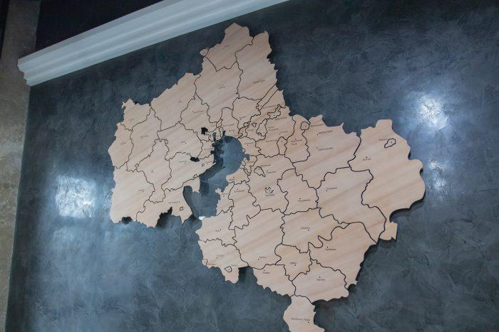 Деревянная карта МО из груши с полным зазором