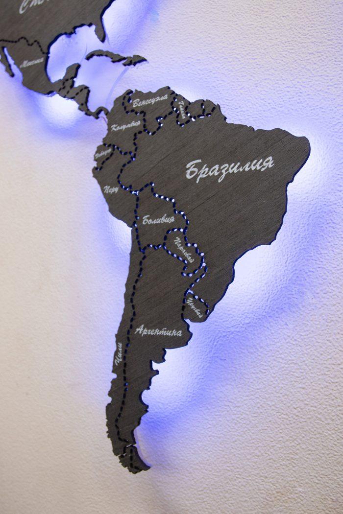 Настенная карта мира из Эбена, страны Южной Америки.