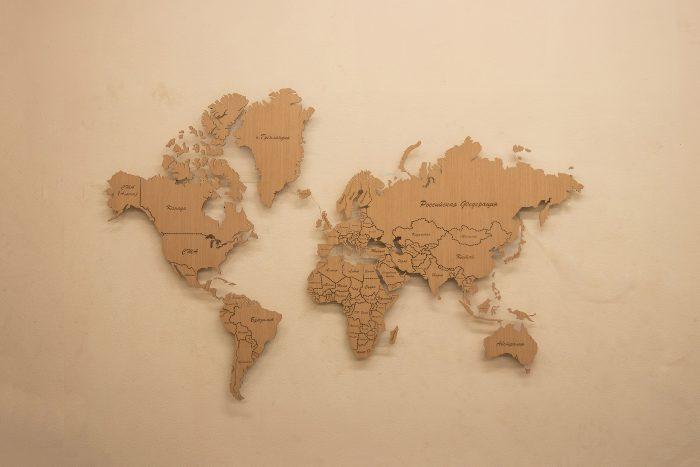 Настенная деревянная карта мира для развития