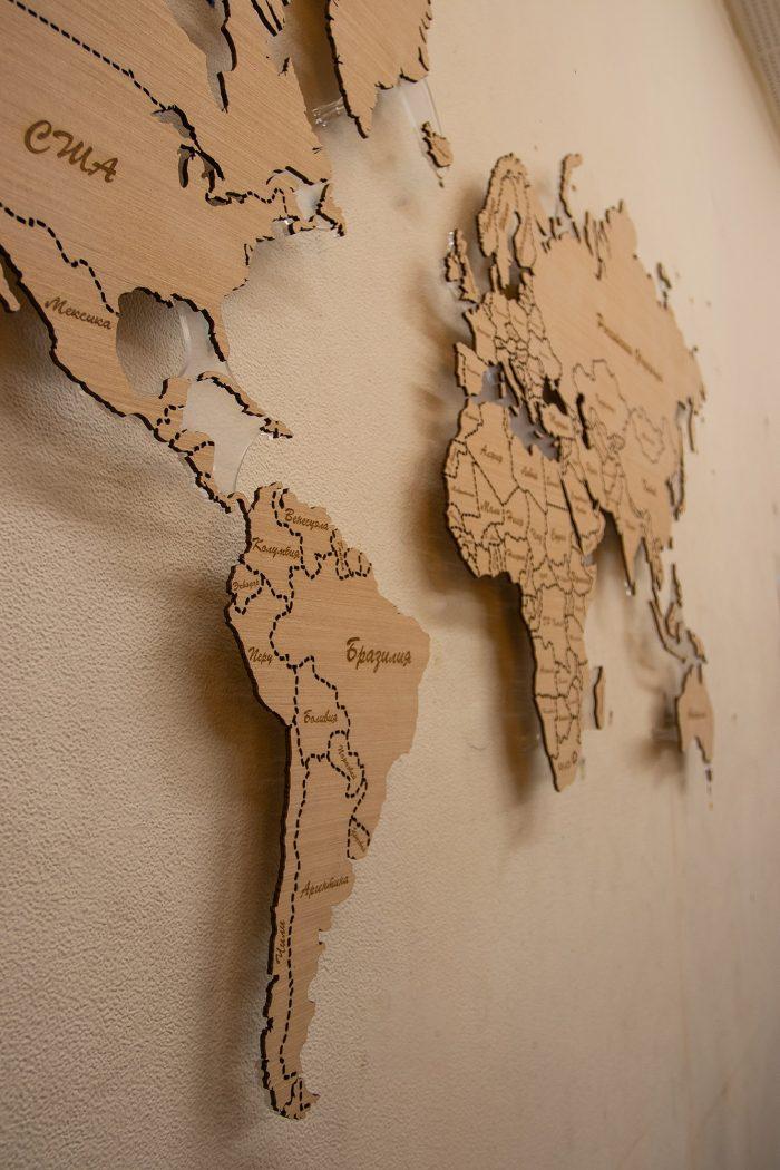 Деревянная карта мира из Анегри 592 QW, Америки