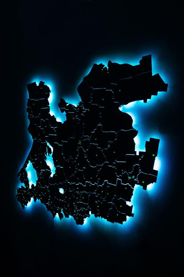 Деревянная карта области с синей подсветкой