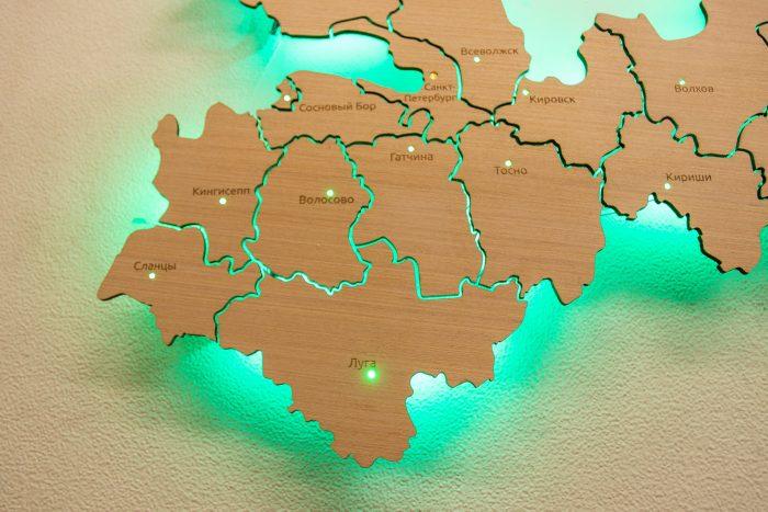 Деревянная карта Ленинградской области
