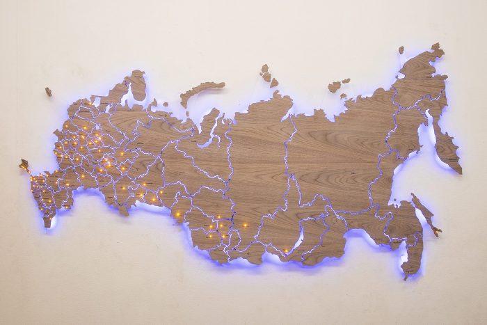 Деревянная карта России из Американского ореха