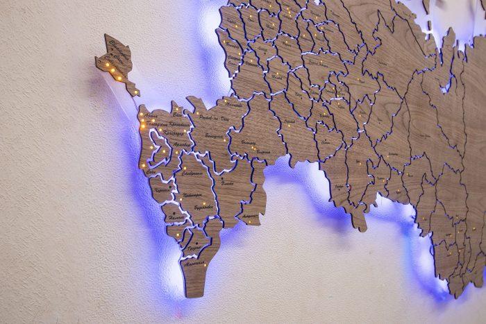 Деревянная карта РФ из Американского ореха