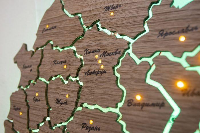 Деревянная карта России из Американского ореха, европейская часть