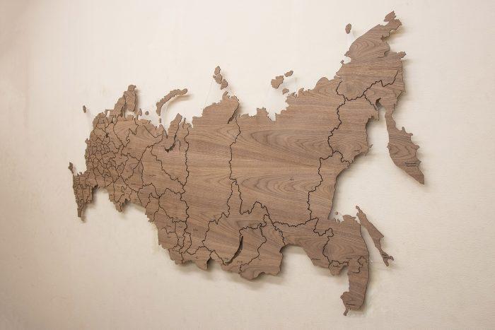 Карта России из дерева из Американского ореха