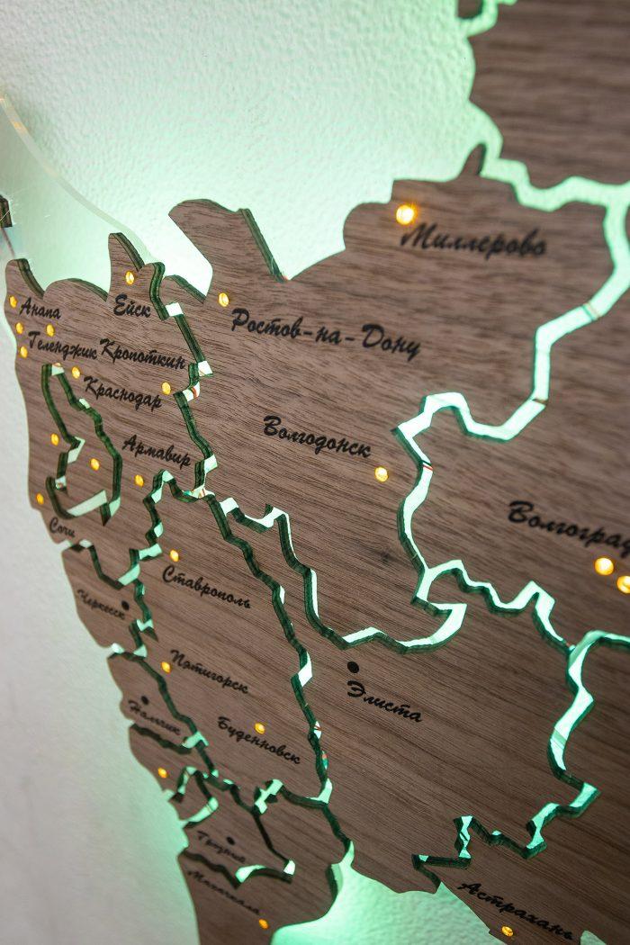 Деревянная карта России из Американского ореха, Кавказ