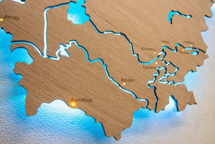 Деревянная карта СНГ Азия