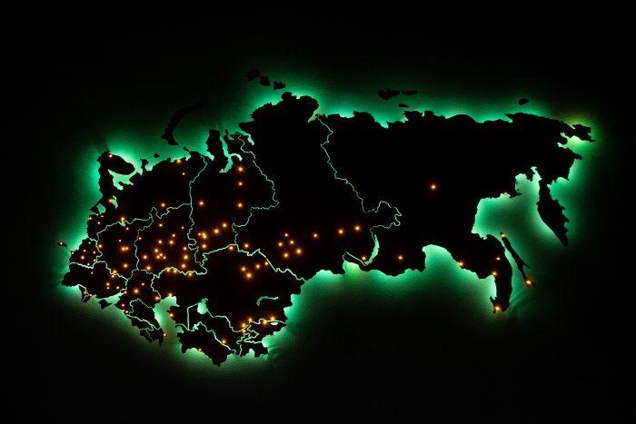 Деревянная карта СНГ с подсветкой