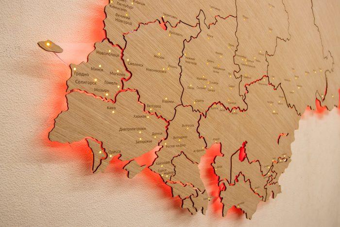 Деревянная карта СНГ с подсветкой, европейская часть