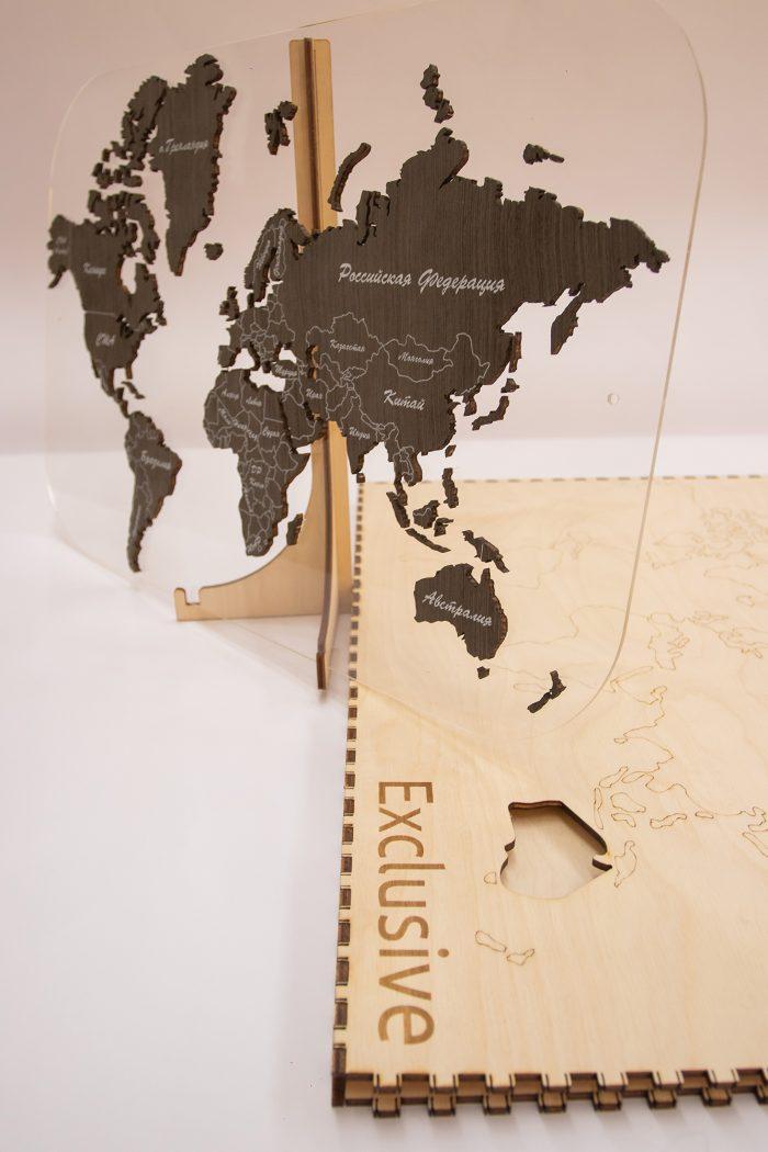 Деревянная карта мира с подарочной коробкой