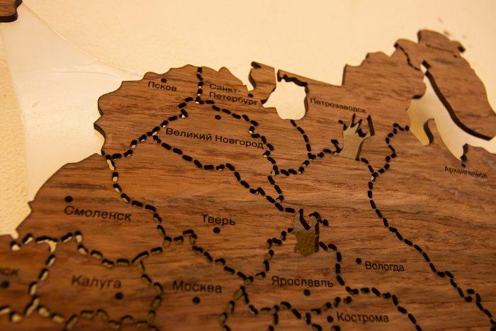Деревянная карта России. Северная часть. Санкт-Петербург.