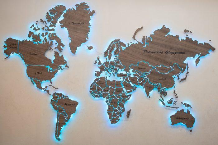 """Деревянная карта Мира из натурального шпона """"Американский орех"""". Весь Мир с подсветкой."""