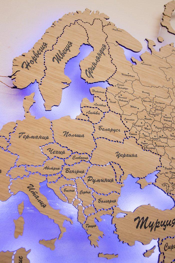 Карта Мира с цельными материками и со штриховым зазором границ государств. Скандинавские страны.