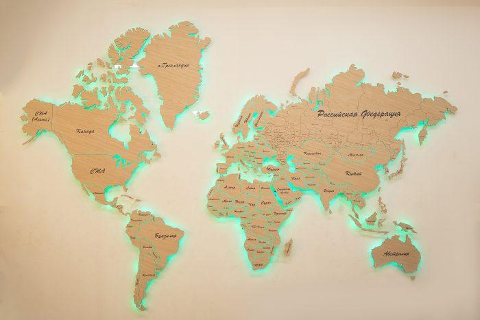 Карта Мира с цельными материками и со штриховым зазором границ государств. Шпон - Файн-Лайн Дуб 605CM.