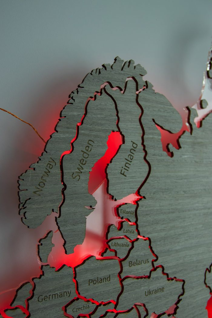 "Настенная карта Мира из шпона Файн-Лайн ""Дуб 7S"". Страны Скандинавии."