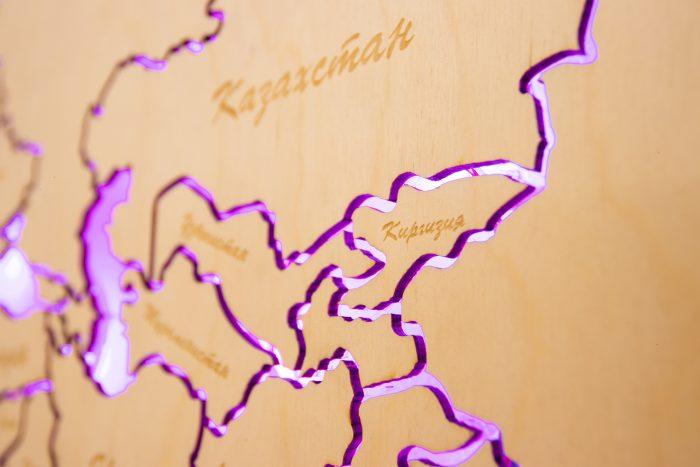 Деревянная Карта Мира из Березы с подсветкой. Азия