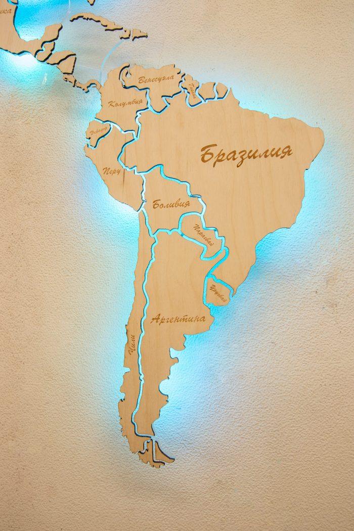 Настенная Карта Мира из Березы с подсветкой. Южная Америка