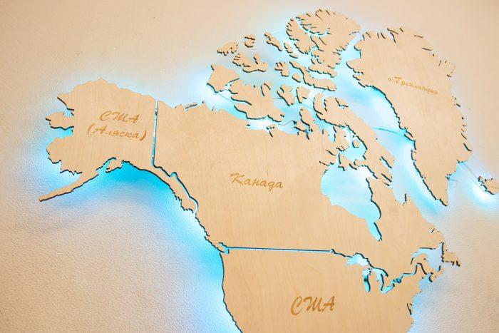 Настенная Карта Мира из Березы с подсветкой. Америка