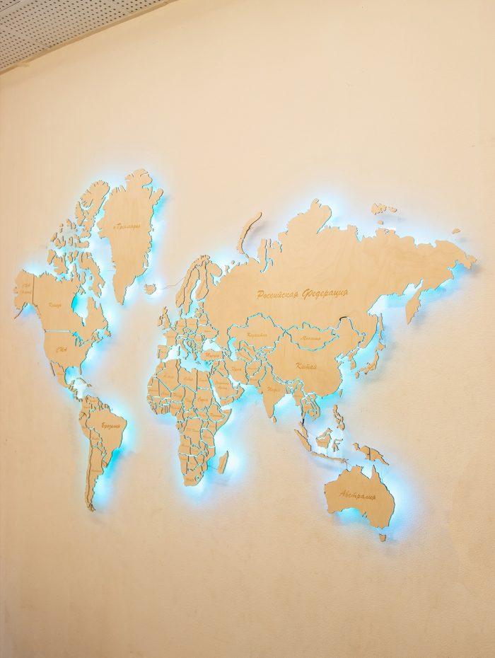 Деревянная Карта Мира из Березы. Мир.