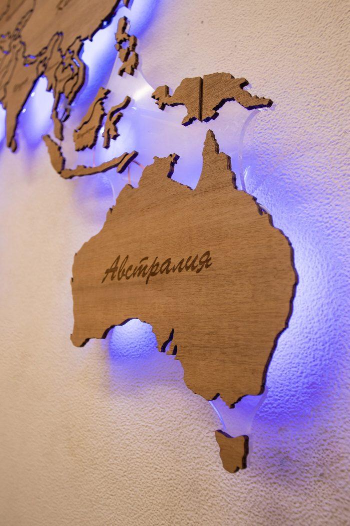 Настенная карта мира с подсветкой. Австралия.