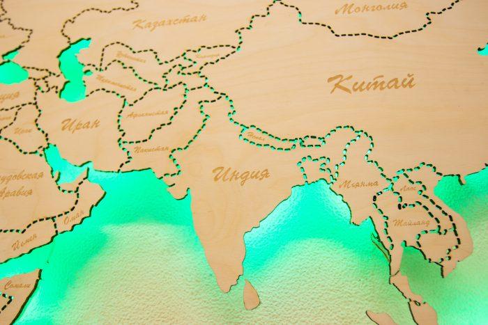 Деревянная Карта мира из Березы. Границы государств выполнены штриховой линией. Азия.