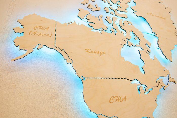 Карта мира из Березы. Границы государств выполнены штриховой линией. Америка