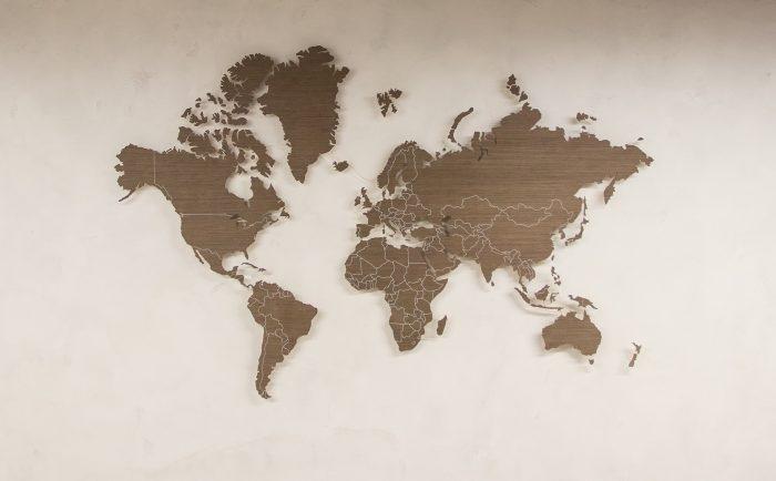 Настенная Карта Мира с цельными материками.