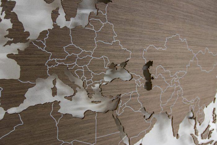 Карта Мира с цельными материками. УФ- Печать границ государств.